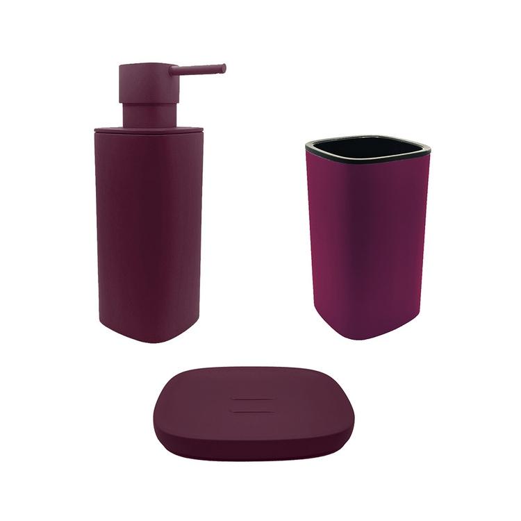 Immagine di Colombo Design TRENTA MOOD set d'appoggio con portasapone, dispenser sapone e porta bicchiere, colore claret violet SETRM004