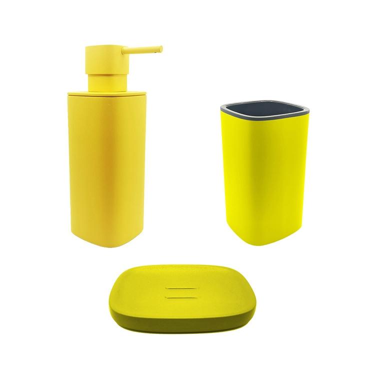 Immagine di Colombo Design TRENTA MOOD set d'appoggio con portasapone, dispenser sapone e porta bicchiere, colore lemon yellow SETRM005