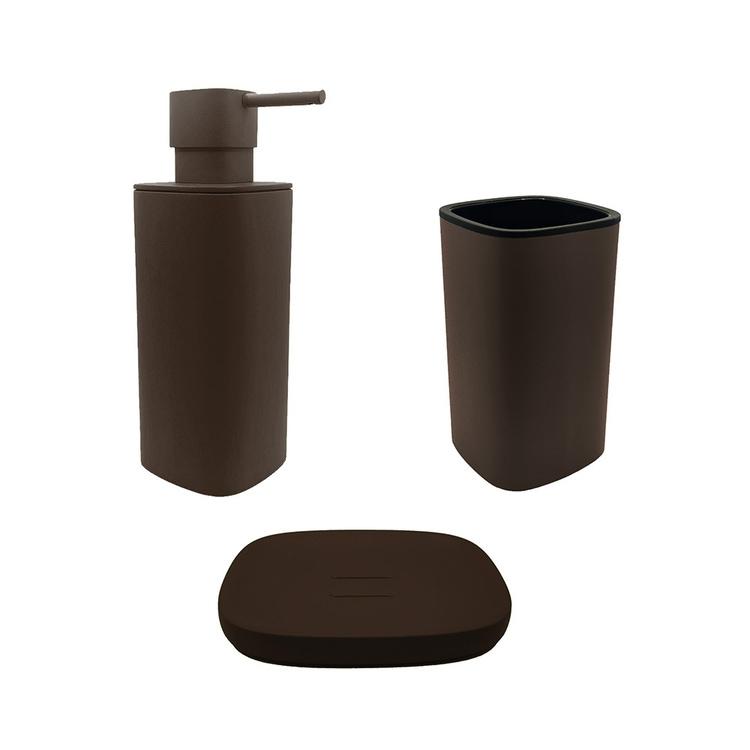 Immagine di Colombo Design TRENTA MOOD set d'appoggio con portasapone, dispenser sapone e porta bicchiere, colore bronze anodic brown SETRM006
