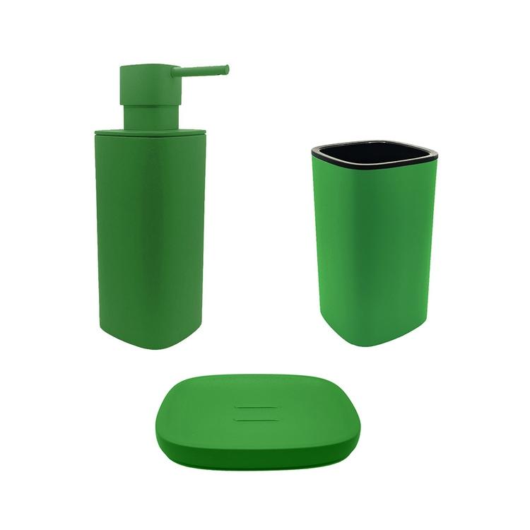 Immagine di Colombo Design TRENTA MOOD set d'appoggio con portasapone, dispenser sapone e porta bicchiere, colore lime green SETRM008