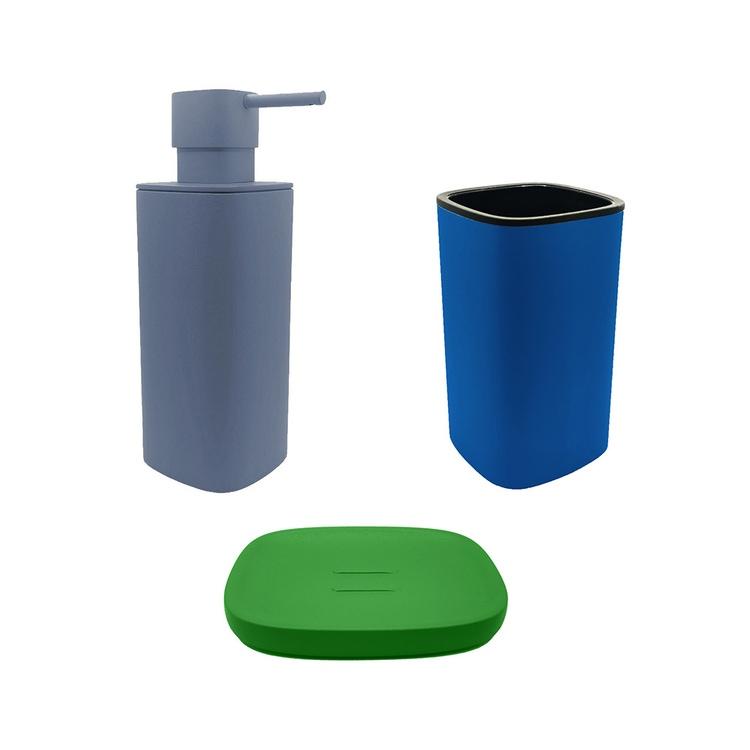 Immagine di Colombo Design TRENTA MOOD set d'appoggio con portasapone colore lime green, dispenser sapone colore ocean blue e porta bicchiere colore capri blue SETRM009