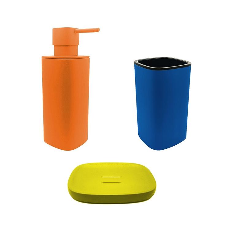 Immagine di Colombo Design TRENTA MOOD set d'appoggio con portasapone colore lemon yellow, dispenser sapone colore sunset orange e porta bicchiere colore capri blue SETRM010