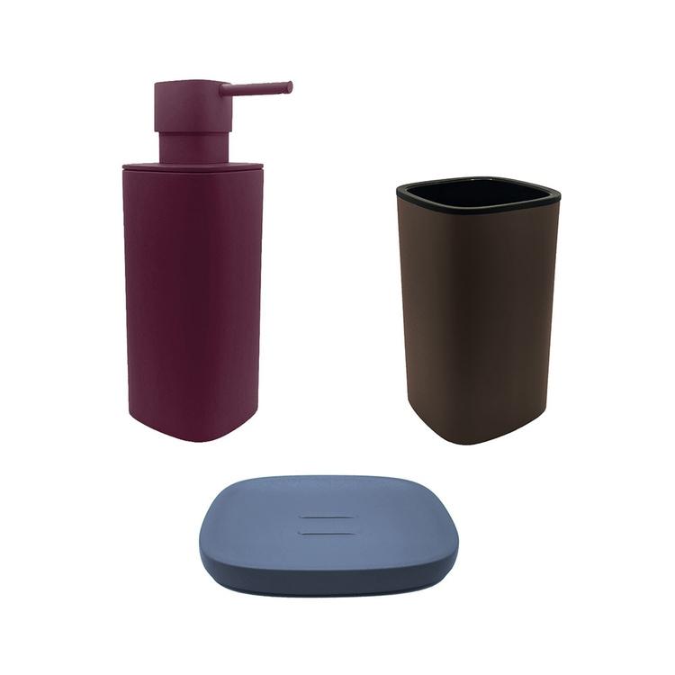 Immagine di Colombo Design TRENTA MOOD set d'appoggio con portasapone colore ocean blue, dispenser sapone colore claret violet e porta bicchiere colore bronze anodic brown SETRM011
