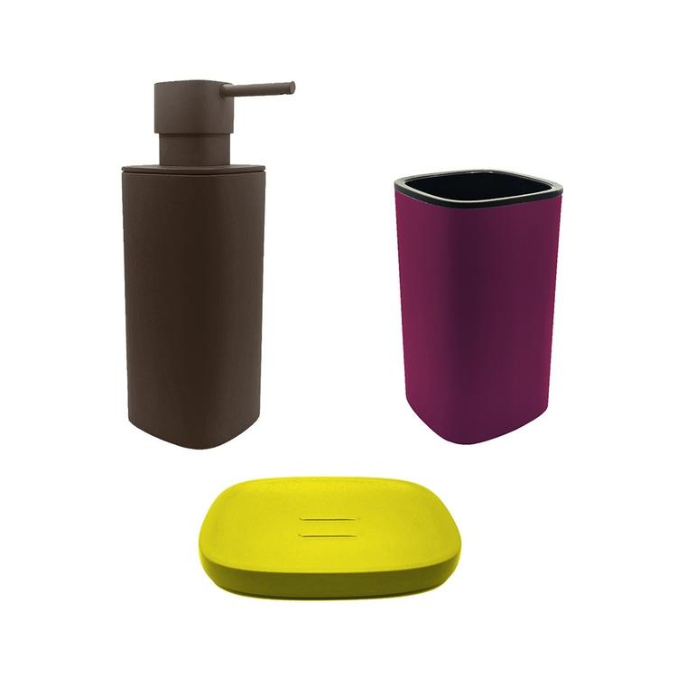 Immagine di Colombo Design TRENTA MOOD set d'appoggio con portasapone colore lemon yellow, dispenser sapone colore bronze anodic brown e porta bicchiere colore claret violet SETRM012