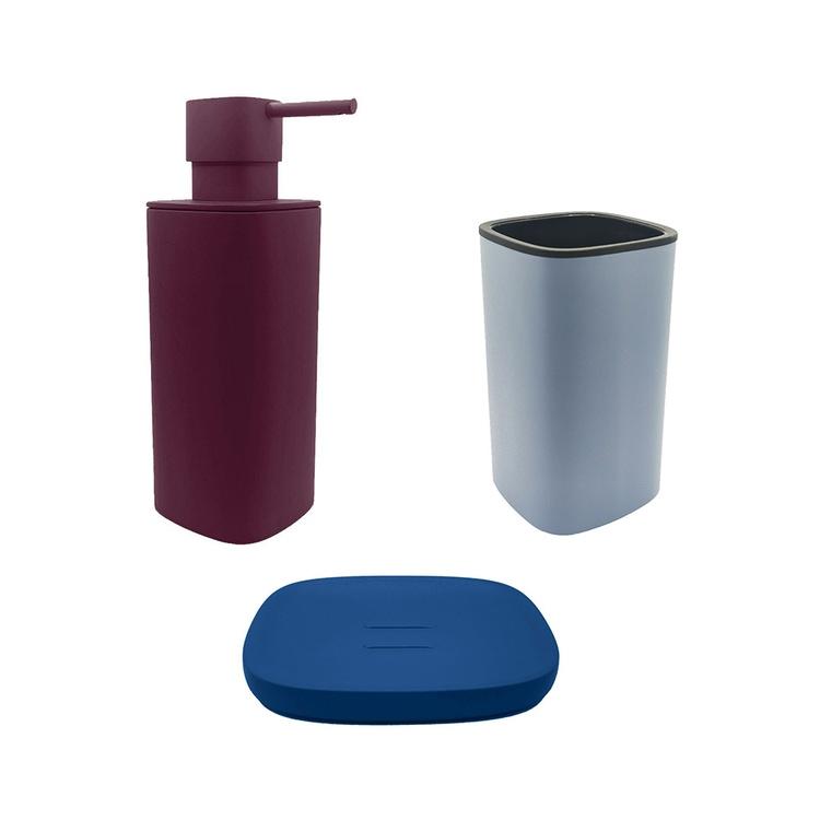 Immagine di Colombo Design TRENTA MOOD set d'appoggio con portasapone colore capri blue, dispenser sapone colore claret violet e porta bicchiere colore ocean blue SETRM013