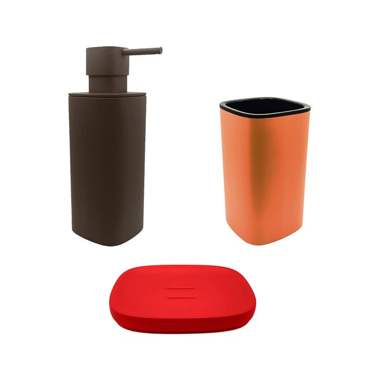 Immagine di Colombo Design TRENTA MOOD set d'appoggio con portasapone colore strawberry red, dispenser sapone colore bronze anodic brown e porta bicchiere colore sunset orange SETRM014