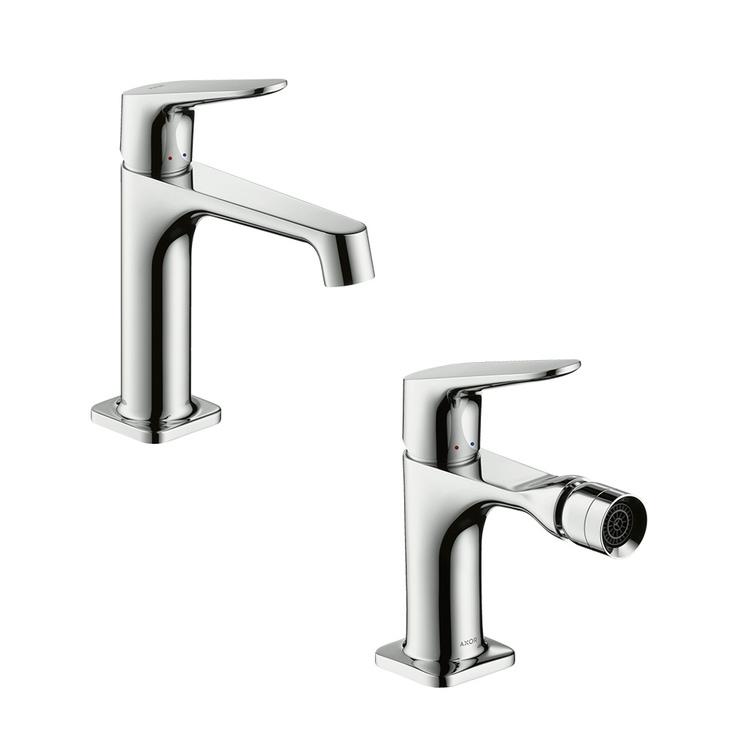 Immagine di Axor CITTERIO M set rubinetteria con miscelatore lavabo con scarico e miscelatore bidet con scarico, finitura cromo SETCITM001
