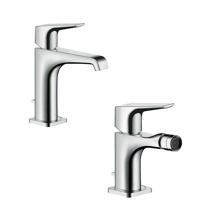 Immagine di Axor CITTERIO E set rubinetteria con miscelatore lavabo con scarico e miscelatore bidet con scarico, con maniglia a leva, finitura cromo SETCITE001