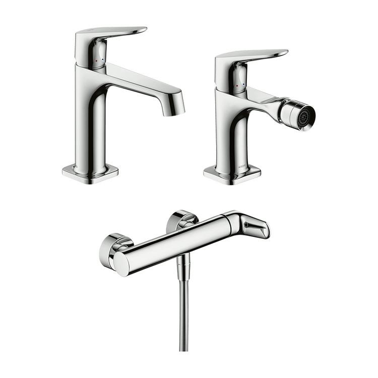 Immagine di Axor CITTERIO M set rubinetteria con miscelatore lavabo con scarico, miscelatore bidet con scarico, miscelatore monocomando doccia, finitura cromo SETCITM002