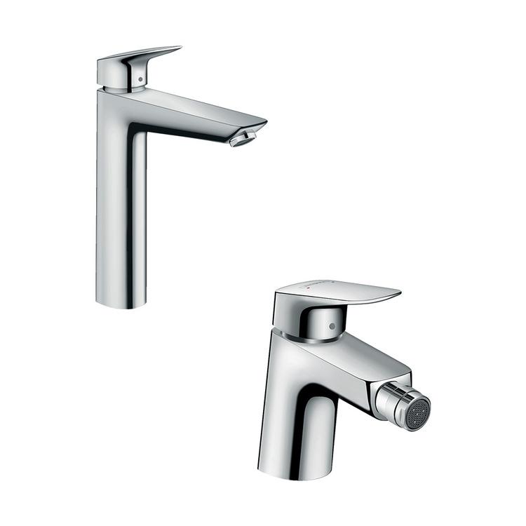 Immagine di Hansgrohe LOGIS set rubinetteria con miscelatore lavabo con scarico e miscelatore bidet con scarico, finitura cromo SETLOG001