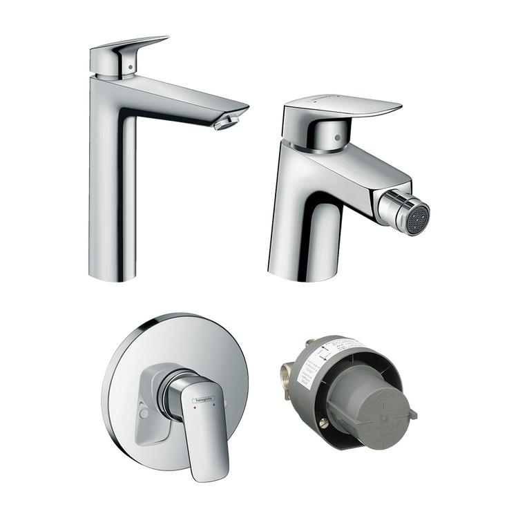 Immagine di Hansgrohe LOGIS set rubinetteria con miscelatore lavabo con scarico, miscelatore bidet con scarico, miscelatore monocomando doccia ad incasso e corpo incasso incluso, finitura cromo SETLOG003