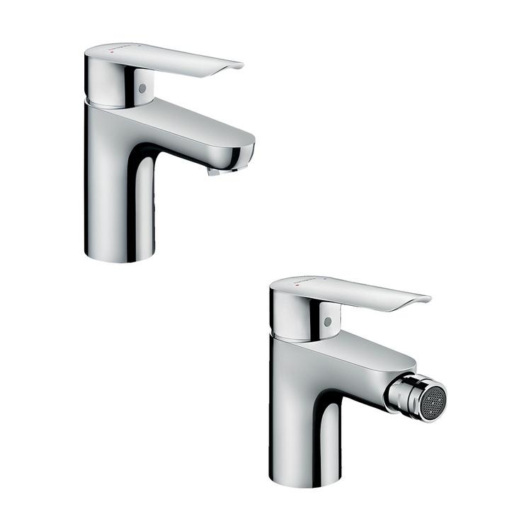Immagine di Hansgrohe LOGIS E set rubinetteria con miscelatore lavabo con scarico e miscelatore bidet con scarico, con piletta in ottone, finitura cromo SETLOGE001