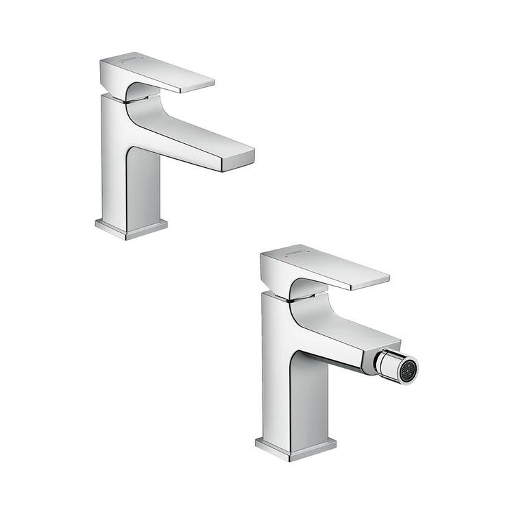 Immagine di Hansgrohe METROPOL set rubinetteria con miscelatore lavabo senza scarico e miscelatore bidet senza scarico, con push-open, finitura cromo SETMETR001