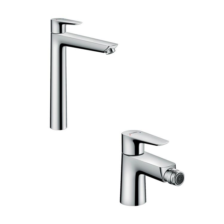 Immagine di Hansgrohe TALIS E set rubinetteria con miscelatore lavabo con scarico e miscelatore bidetcon scarico, finitura cromo SETALE001