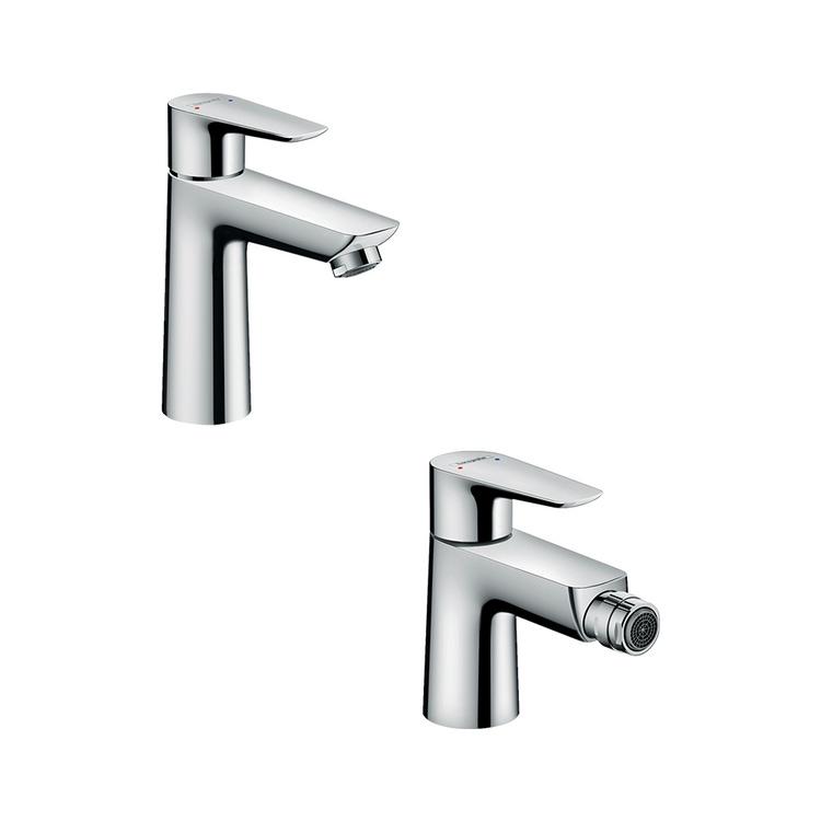 Immagine di Hansgrohe TALIS E set rubinetteria con miscelatore lavabo con scarico e miscelatore bidet con scarico, finitura cromo SETALE002