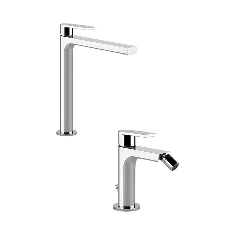 Immagine di Gessi VIA MANZONI set rubinetteria con lavabo alto senza scarico e miscelatore bidet con scarico, finitura cromo SETVIAM001
