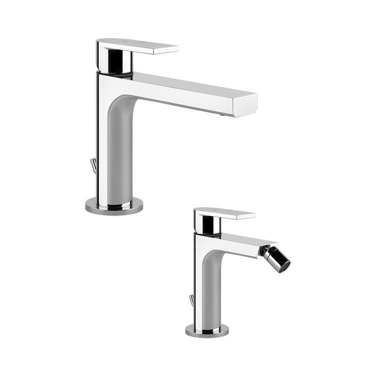 Immagine di Gessi VIA MANZONI set rubinetteria con lavabo con scarico e miscelatore bidet con scarico, finitura cromo SETVIAM002