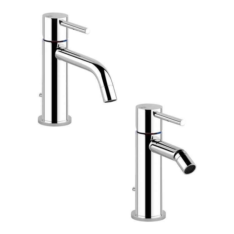 Immagine di Gessi VIA TORTONA set rubinetteria con miscelatore lavabo con scarico e miscelatore bidet con scarico, finitura cromo SETVIAT001