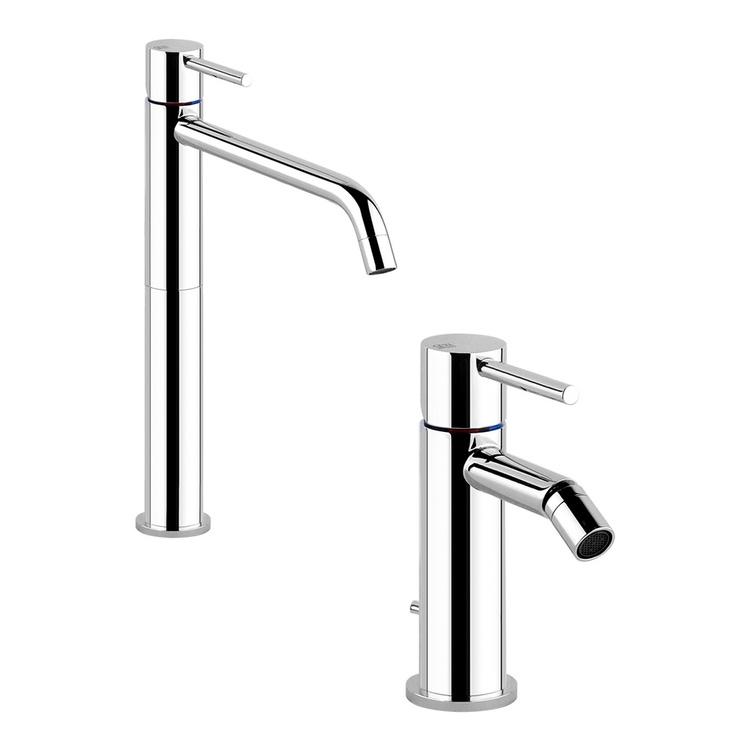Immagine di Gessi VIA TORTONA set rubinetteria con miscelatore lavabo alto con bocca lunga senza scarico e miscelatore bidet con scarico, finitura cromo SETVIAT002
