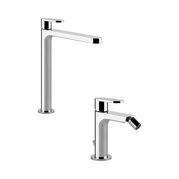 Immagine di Gessi VIA BAGUTTA set rubinetteria con miscelatore lavabo alto senza scarico e miscelatore bidet con scarico, finitura cromo SETVIAB001