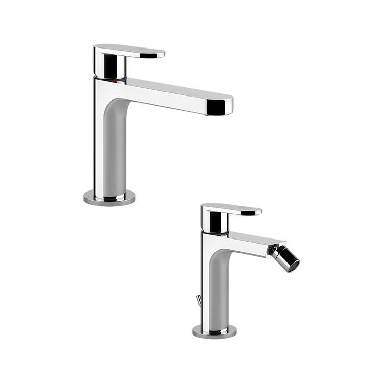 Immagine di Gessi VIA BAGUTTA set rubinetteria con miscelatore lavabo con scarico e miscelatore bidet con scarico, finitura cromo SETVIAB002
