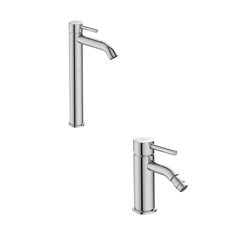 Immagine di Ideal Standard CERALINE set rubinetteria con miscelatore lavabo da appoggio su piano con scarico e miscelatore bidet con scarico, finitura cromo SETCE001