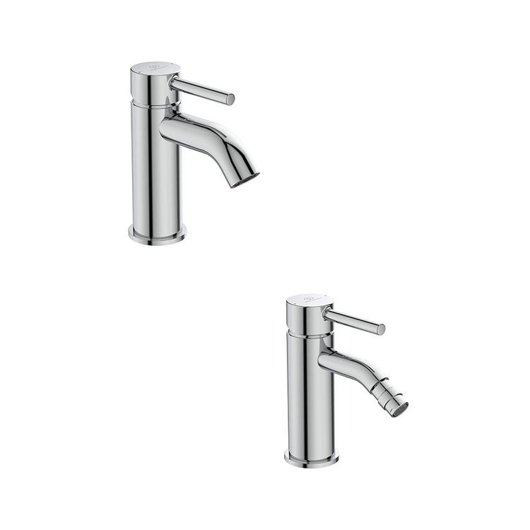 Immagine di Ideal Standard CERALINE set rubinetteria con miscelatore lavabo con scarico e miscelatore bidet con scarico, finitura cromo SETCE002