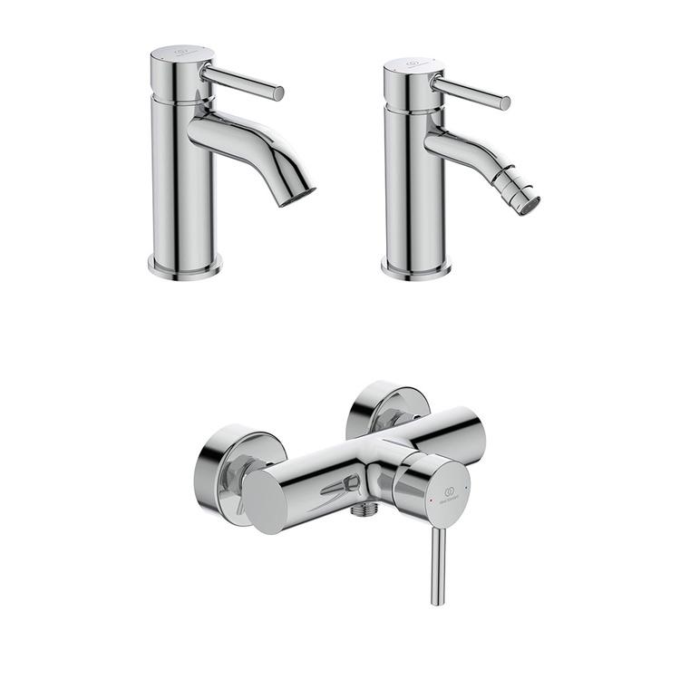 Immagine di Ideal Standard CERALINE set rubinetteria con miscelatore lavabo con scarico, miscelatore bidet con scarico e miscelatore monocomando esterno doccia, finitura cromo SETCE003