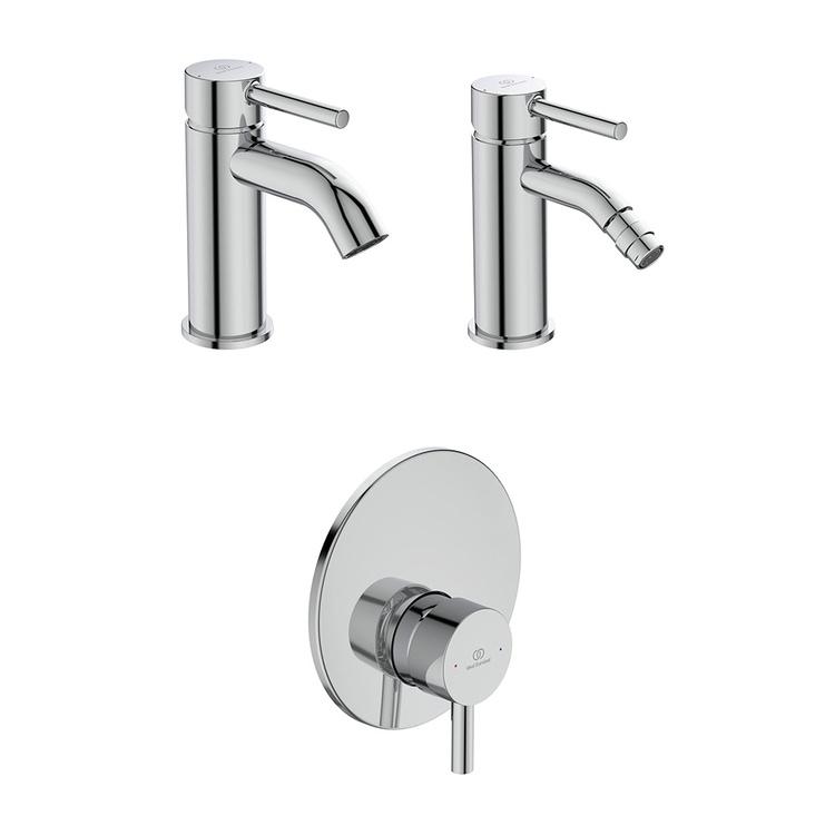 Immagine di Ideal Standard CERALINE set rubinetteria con miscelatore lavabo con scarico, miscelatore bidet con scarico, miscelatore monocomando doccia e corpo incasso incluso, finitura cromo SETCE004