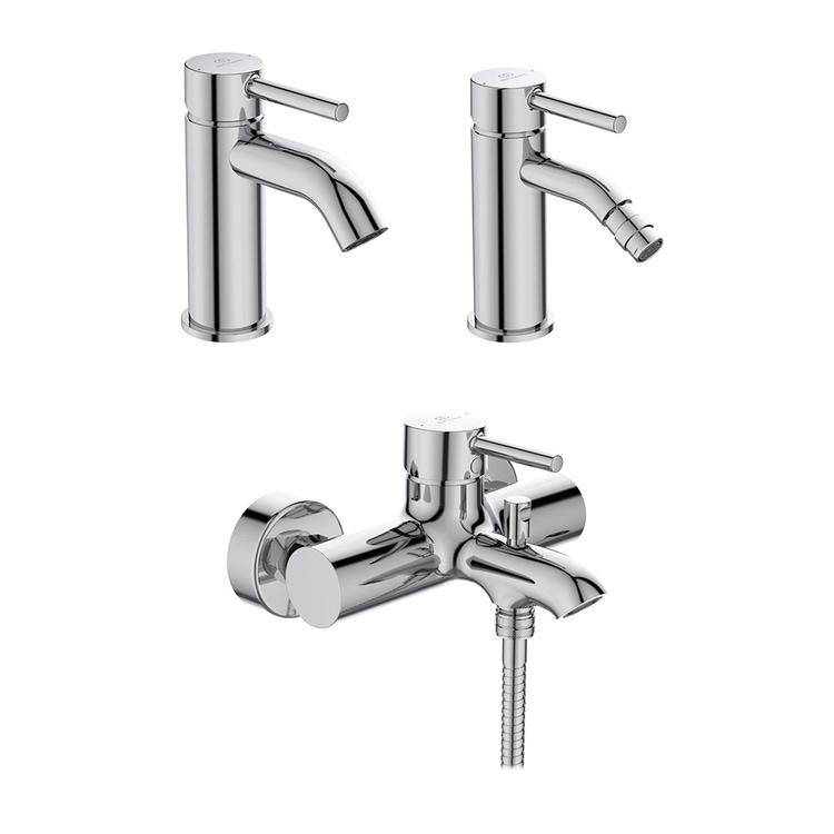 Immagine di Ideal Standard CERALINE set rubinetteria con miscelatore lavabo con scarico, miscelatore bidet con scarico, miscelatore monocomando esterno per vasca e doccia, finitura cromo SETCE005