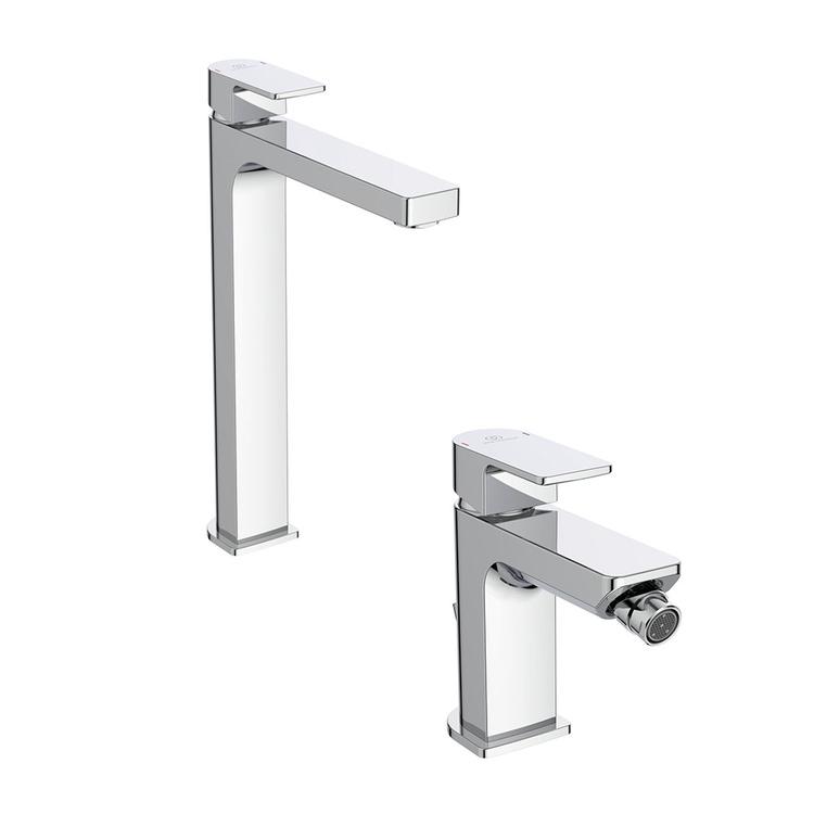 Immagine di Ideal Standard EDGE set rubinetteria con miscelatore lavabo da appoggio su piano senza scarico e miscelatore bidet con scarico, finitura cromo SETED002