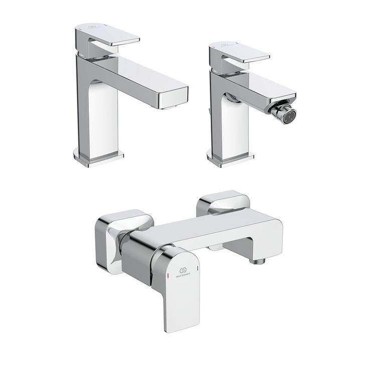Immagine di Ideal Standard EDGE set rubinetteria con miscelatore lavabo senza scarico, miscelatore bidet con scarico e miscelatore monocomando esterno doccia, finitura cromo SETED003