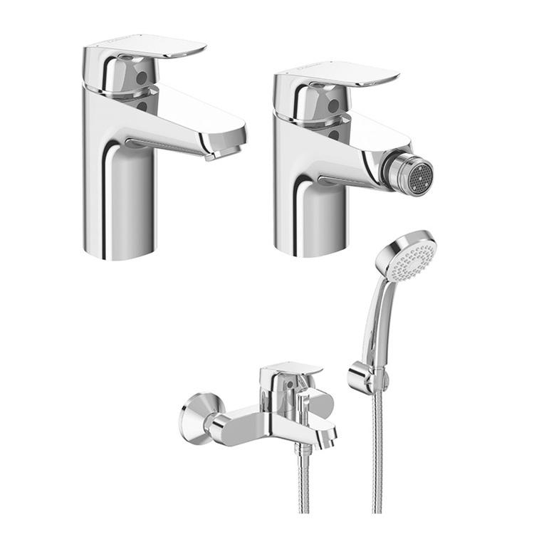 Immagine di Ceramica Dolomite BASE set rubinetteria con miscelatore lavabo con scarico, miscelatore bidet con scarico e miscelatore esterno per vasca e doccia, finitura cromo SETBA001