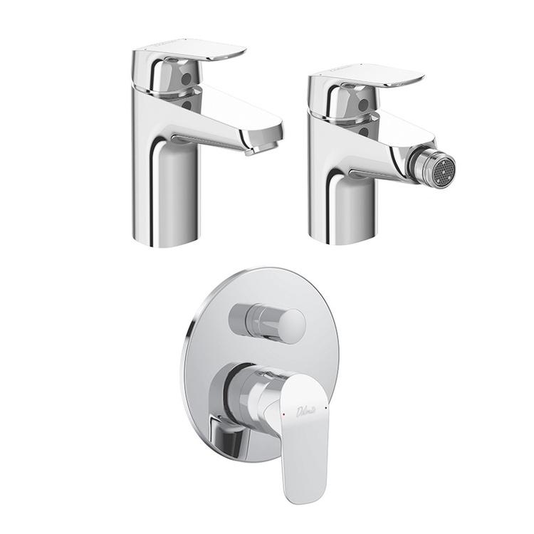 Immagine di Ceramica Dolomite BASE set rubinetteria con miscelatore lavabo con scarico, miscelatore bidet con scarico, miscelatore monocomando ad incasso per vasca e doccia e corpo incasso incluso, finitura cromo SETBA002
