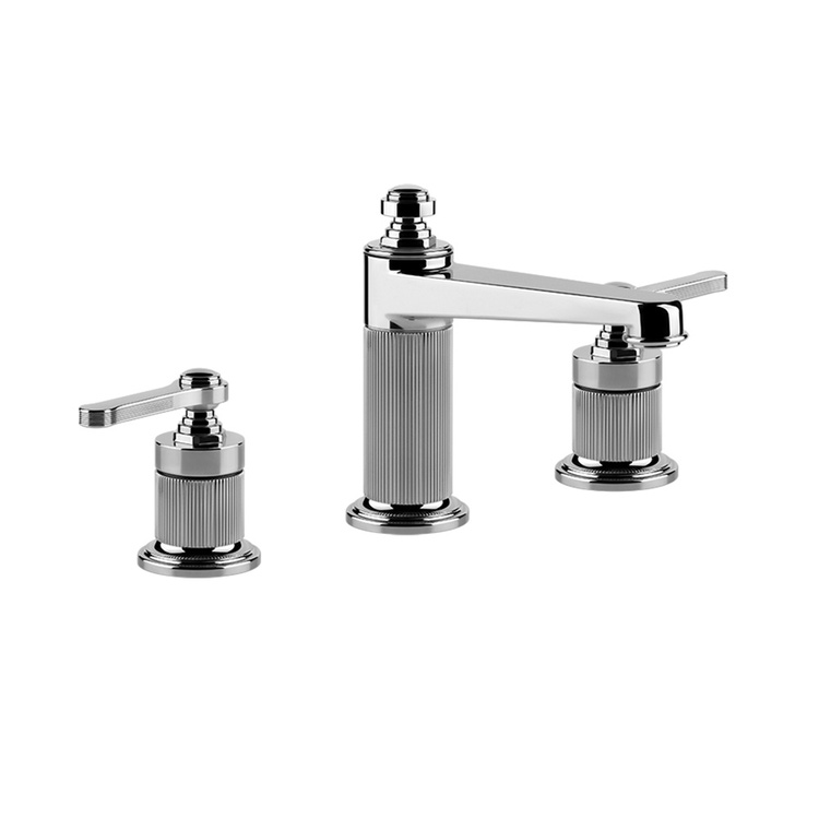 Immagine di Gessi VENTI20 gruppo lavabo 3 fori H.16 cm, con scarico e flessibili di collegamento, finitura cromo 65012#031