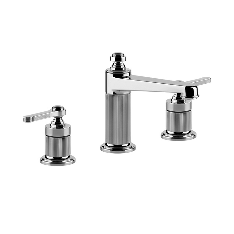 Immagine di Gessi VENTI20 gruppo lavabo 3 fori H.16 cm, senza scarico, con flessibili di collegamento, finitura cromo 65014#031