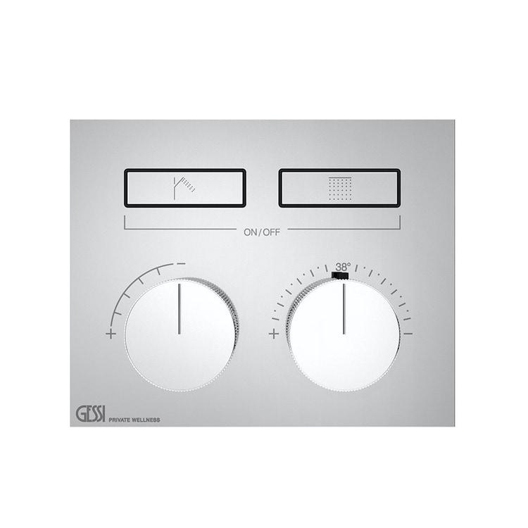Immagine di Gessi HI-FI COMPACT miscelatore termostatico a due funzioni simultanee, con pulsanti on-off, finitura cromo 63004#031