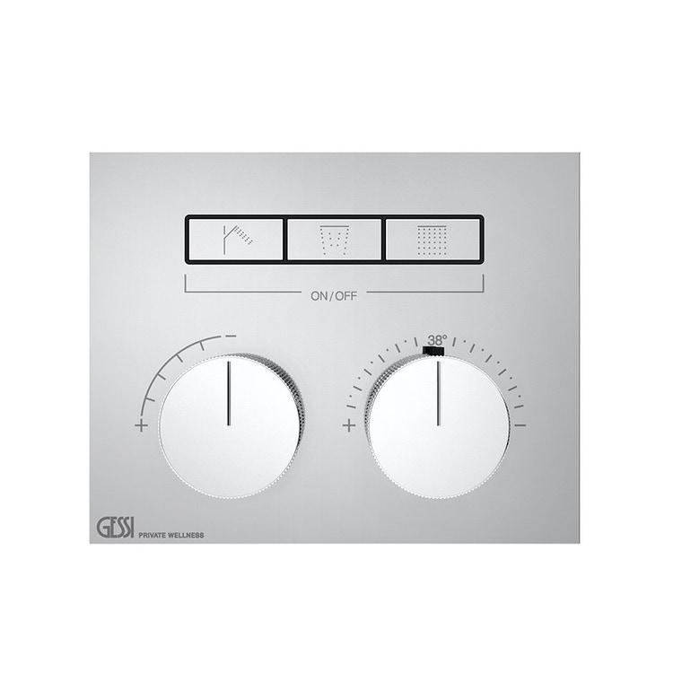 Immagine di Gessi HI-FI COMPACT miscelatore termostatico a tre funzioni simultanee, con pulsanti on-off, finitura cromo 63006#031