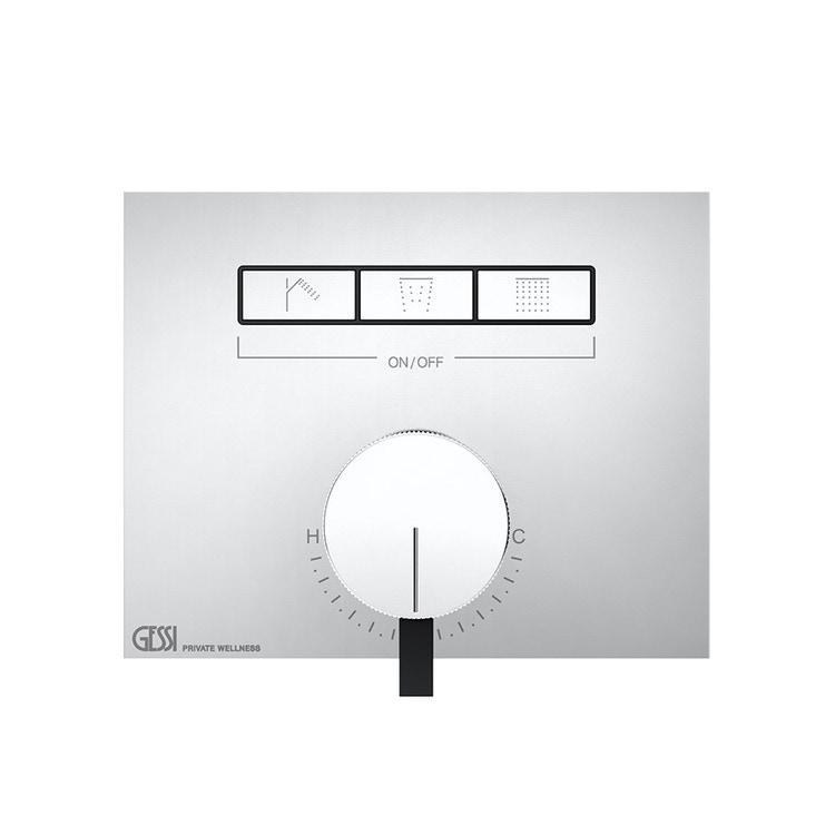 Immagine di Gessi HI-FI MIXER miscelatore monocomando a tre funzioni simultanee, con pulsanti on-off, finitura cromo 63081#031