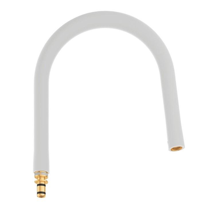 Grohe Essence Flessibile elastico Marmo Bianco Opaco GROHflexx kitchen con doccetta professionale integrata dotata di braccio a molla orientabile a 360°, finitura marmo bianco opaco 30321MW0