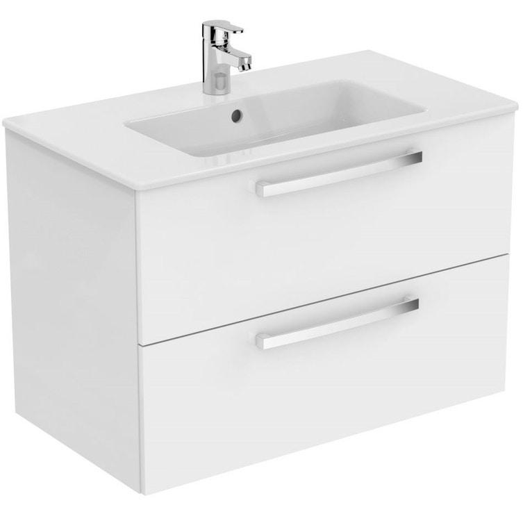 Ceramica Dolomite GEMMA 2 mobile sospeso da 80 cm con lavabo incluso, bianco laccato lucido J5274WG