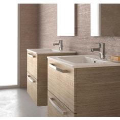 Immagine di Ceramica Dolomite GEMMA 2 composizione Rovere Chiaro mobile 80 cm sospeso con lavabo incluso, specchio e lampada squadrata J5274OS-T3357BH-T3190AA