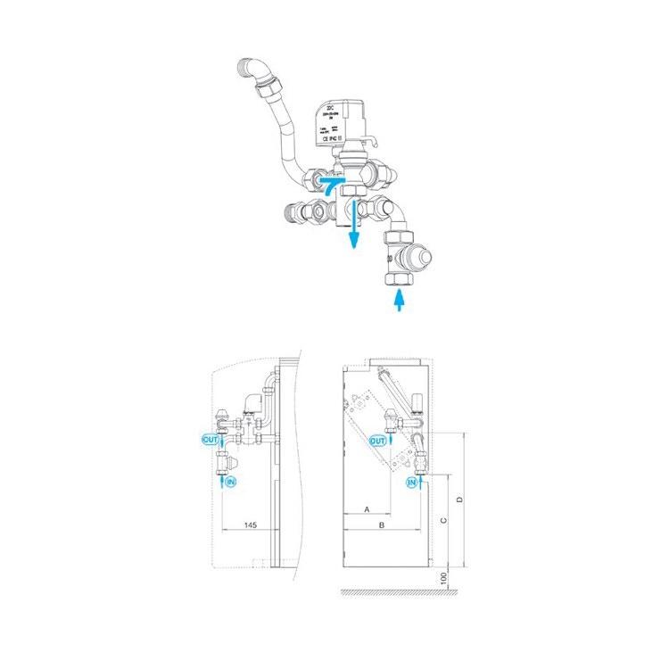 Sabiana Valvola a 3 vie per batteria addizionale + kit collegamento sciolti (grandezza 1-9) 9060475W