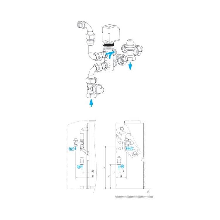 Sabiana Valvola a 3 vie per batteria principale + kit collegamento montata a bordo (grandezza 6-9) 9060471W