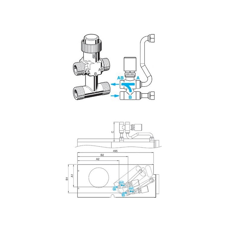 Sabiana Valvola a 3 vie semplificata per batteria addizionale + kit collegamento sciolti (grandezza 1-9 incasso) 9060480W