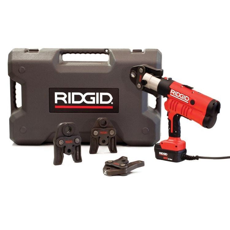 Immagine di Ridgid RP 340-C Pressatrice a cavo completo di ganasce V 15-18-22 mm adattatore per l'alimentazione da 220V (cavo da 5m) e cassetta di trasporto  43288