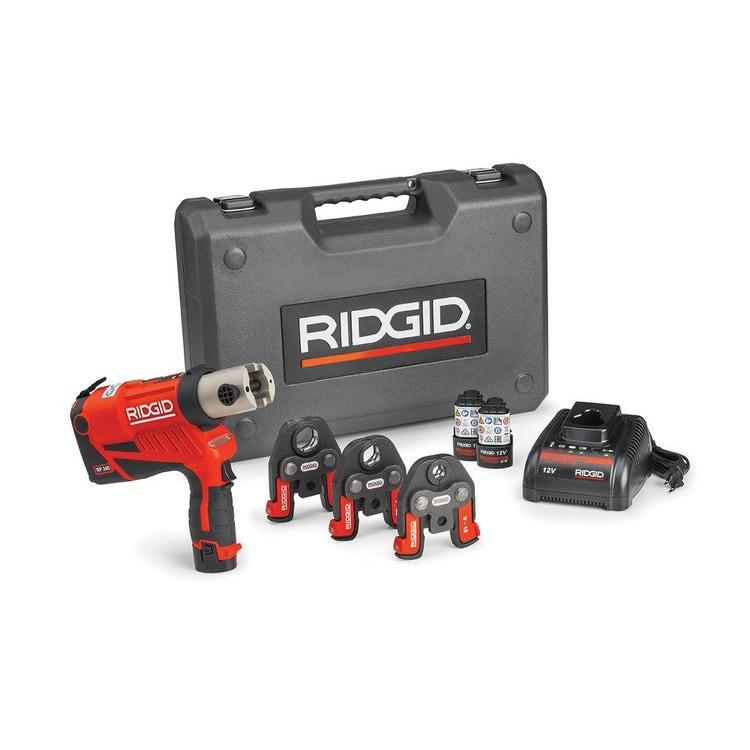 Immagine di Ridgid RP 240 Pressatrice a batteria completo di ganasce V 15-22-28 mm, con 2 batterie Litio Advanced 12 V 2.5 Ah, 1 Caricabatterie Veloce e Cassetta 59198