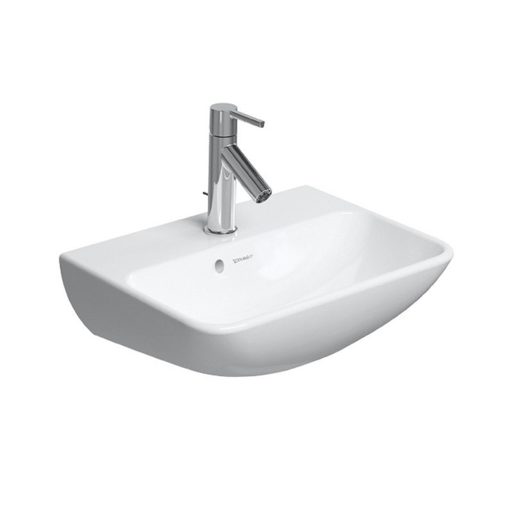 Duravit ME BY STARCK lavamani 45 cm monoforo, con troppopieno, con bordo per rubinetteria,  lato inferiore smaltato, colore bianco finitura opaco 0719453200