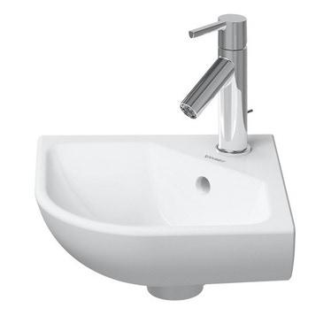 Duravit ME BY STARCK lavamani d'angolo 43.5 cm monoforo, con troppopieno, con bordo per rubinetteria, lato inferiore smaltato, colore bianco finitura opaco 0722433200