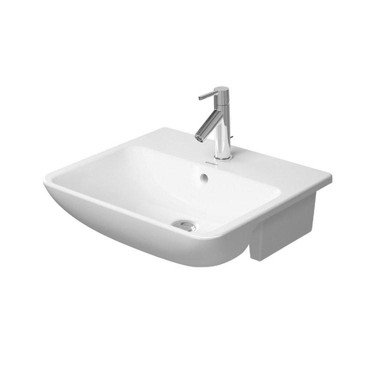 Duravit ME BY STARCK lavabo semincasso 55 cm monoforo con troppopieno, con bordo per rubinetteria, WonderGliss, colore bianco finitura opaco 03785532001